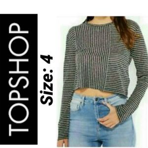 🔥Topshop Charcoal Striped Crop Top NWT 4
